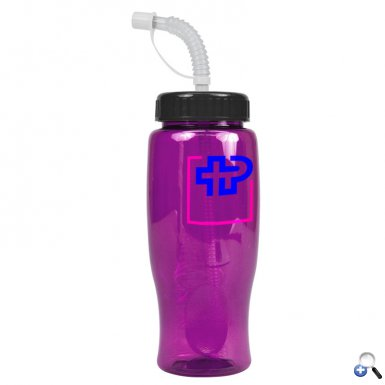 Poly-Pure - 27 oz. Transparent Bottle-Straw Lid