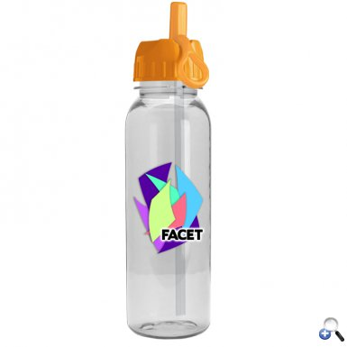 24oz Tritan Bottle Flip Straw Lid Digital Imprint