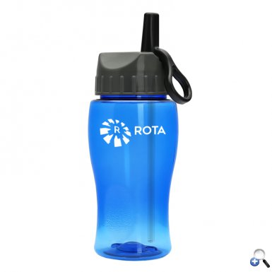 18 oz. Transparent Bottle with Flip Straw Ring Lid
