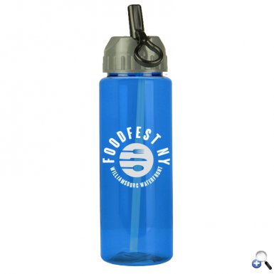 The Guzzler - 32 oz. Trans. Bottle- Flip Straw Lid
