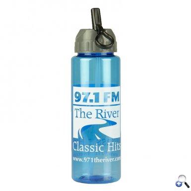 The Guzzler - 32 oz. Trans. Bottle- Flip Straw Lid