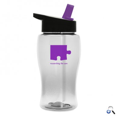18 oz. Transparent Bottle with Flip Straw Lid