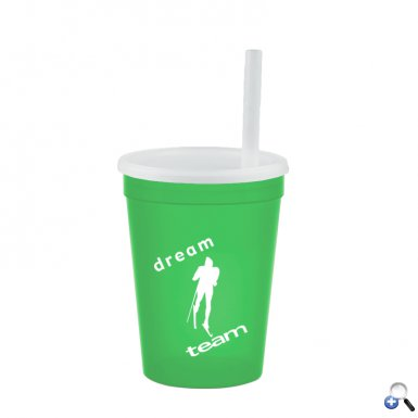 12 oz Cup with Lid & Straw