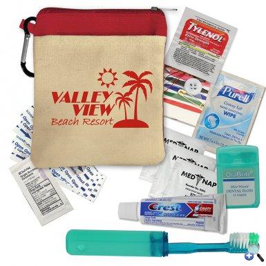 Premium Travel Kit Cotton Zip Tote with Carabiner