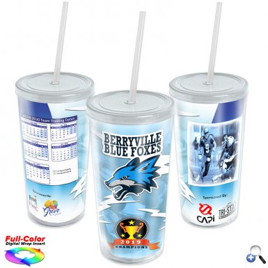 20 oz. Straw Tumbler w/ Full-Color Wrap Insert